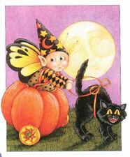 Pumpkin Fairy Elf Black Cat-Handcrafted Halloween Magnet-w/Mary Engelbreit art