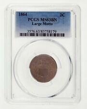 1864 2C Large Motto Two Cent Piece Graded by PCGS as MS63BN! Gorgeous US Coin