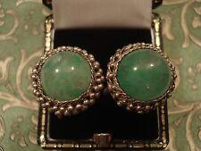 Beautiful Vintage Art Deco;Chinese Apple Jade Gemstones,Silver Filigree Earrings