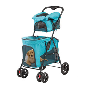 Double Pet Travel Stroller Cat & Dog Easy Foldable Carrier Jogger Cart Buggy 🔥
