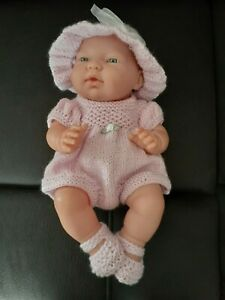 HAND KNITTED DOLLS CLOTHES FOR 10-12 INCH BABY DOLL. MISTY LILAC. ROMPER SET.