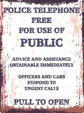 POLICE PHONE BOX METAL SIGN RETRO VINTAGE STYLE SMALL