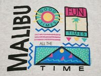 Vintage 1986 Malibu California T-Shirt Rad Surf Skate 90s Memphis Print Mens L
