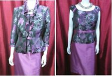 Sonia Pena Pink/Silver Grey floral Mother of The Bride 3pc Jacket suit UK12 E42