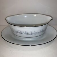 CONTEMPORARY NORITAKE ''MARYWOOD'' 2181 GRAVY BOAT WITH UNDERPLATE