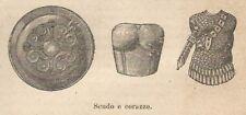 A8122 Scudo e Corazze dell'era Greca - Xilografia - Engraving - 1906 Stampa