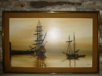 SHIPS IN HARBOUR by NANCE - OIL PAINTING ART Nautical seascape, galleon, sunset