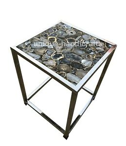 Black Natural Agate Stone For Top Coffee Table, Side Table, Corner Table Décor