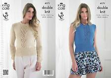 Knitting Pattern Ladies Sleeveless Roll Neck Top Bamboo Cotton DK King Cole 4171