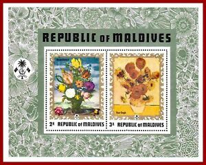 Maldives 1973 ART, flower paintings by van Gogh, Bosschaert SG MS 434