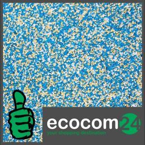 Farbmuster GeoFest Buntsteinputz Mosaikputz - GF14 blau/gelb/weiß