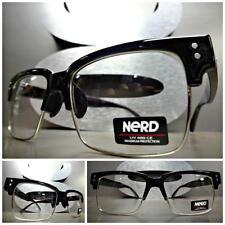 Men's CLASSIC VINTAGE RETRO Nerd Style Clear Lens EYE GLASSES Black Silver Frame
