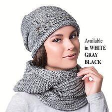 Women Girl Winter Warm Crochet Knit Hat Beanie Cap Scarf Set Pom Pom Slouchy