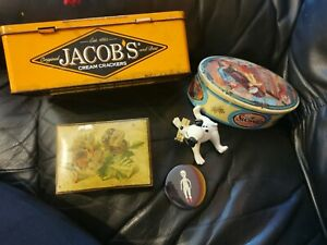 COLLECTION OF OLD  CRACKER SWEETS VINTAGE WOOD TINS BUNDLE TOY BADGE