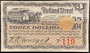 1904 **RUTLAND STREET RAILWAY COMPANY** VT. $3.00 BOND COUPON+VIGNETTE!  SCARCE!