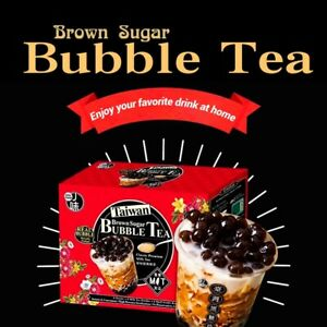 J-Way Brown Sugar Boba Tapioca Bubble Milk Tea Instant Packets 6 Sets/Box