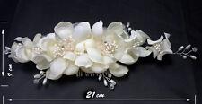 Elegant Bridal Wedding Hair Comb Ivory Satin flower leaf Headpiece Fascinator UK