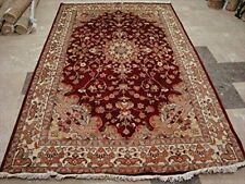 New Exclusive Love Red Medallion Area Rug Hand Knotted Wool Silk Carpet (9 x 6)'