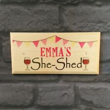 Personalised She Shed Sign, Wine Plaque Workshop Mum Mothers Day Nanny Alcohol