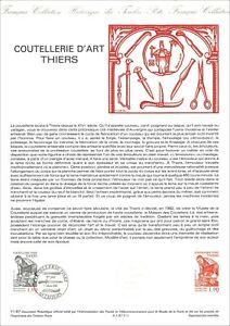 Timbre 1er jour sur document philatélique - COUTELLERIE D'ART - THIERS - 1987