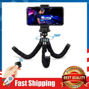 Cell Phone Tripod Flexible Stand Mount with Bluetooth Remote and Phone Clip