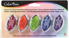 Color Box Pigment Ink 5 Cat's Eye Inkpads NEW! Ruby Orange Lime Cerulean Violet