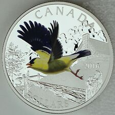 2016 $20 Colorful Birds of Canada: American Goldfinch, Pure Silver Color Proof