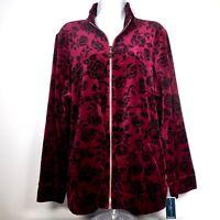 Karen Scott Sport Womens XL Red Velour Full Zip Jacket Black Floral NWT