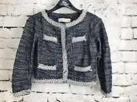 Anthropologie ISANI Massey Jacket Tweed with Beaded Trim Blue Size Small