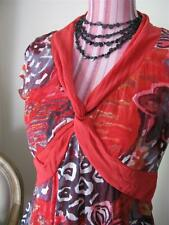 Faye Brown 12 TOP red patterned stretchy layering short sleeve contrast trim