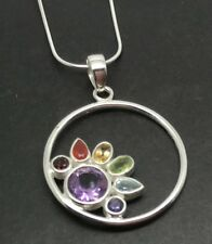 Chakra style Multicolour Pendant, Solid Sterling Silver, Real Gemstones, New.