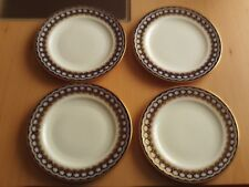 VINTAGE X4 ROYAL CAULDON W & BLUE WITH GOLD GILDING & FLORAL PATTERN SIDE PLATES