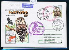 72735) LH FF Köln - Dallas USA 10.10.2001, GAU Rumänien bird Eule owl Vögel