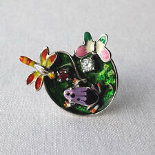 SOLID 925 STERLING SILVER COLOURFUL ENAMEL BUTERFLY GARDEN RING N