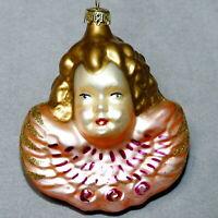 Christmas Ornament Glass ANGEL Head Face GERMANY PINK RANA'S VARIETY USA SELLER