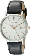 Bulova Men's White Dial Black Leather Strap Watch - 98B254. New In Box. 041