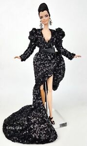 Black Dress Gown Outfit For Silkstone Barbie Fashion Royalty Integrity Toys FR