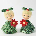 Vintage Holt Howard Ceramic Blonde Holly Girls Christmas Salt Pepper Shaker Set