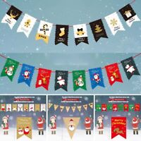 Merry Christmas Santa Elk Paper Bunting Flags Banner Xmas Party Hanging Decor