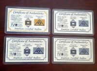 ACB Gold Silver Platinum Palladium 1GRAIN BULLION PURE Bars w/COA (4 bars)! ^
