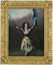 More details for joan of arc with french army antique oil painting 19th century european school