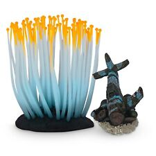 Aquarium Decoration pack Of 2 ,Coral Plant & War plane Glow In Dark Silicon Made