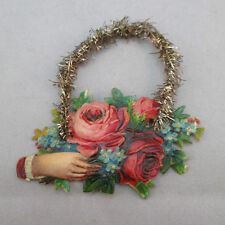 Vintage Victorian Tinsel Rose Card Bouquet Ornament *
