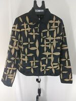 Anage 100% Silk Button Down Embriodered Black and gold Jacket