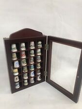 Thimble Display Case Holder Cabinet With 20 Thimbles Well Made Wooden