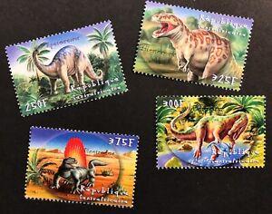 CENTRAL AFRICA DINOSAUR STAMPS SET 4v 2001 MNH PREHISTORIC ANIMALS REPTILE