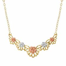 Just Gold Floral Garland& Necklace in 10K Three-Tone Gold