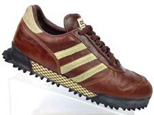 Adidas MARATHON TRAINER Brown/Cream Trim Leather Athletic Shoes Men's 10