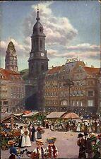 Feldpostkarte Dresden Blumenmarkt 1916 Feldpost gelaufen n. Annaberg Erzgebirge