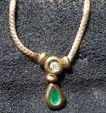 collier d'émeraude précieux et original, diamant et chaîne en or, comme neuf